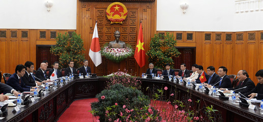 Japan's Prime Minister Shinzo Abe holds official talks with his Vietnamese counterpart Nguyen Xuan Phuc at Phuc's Cabinet Office in Hanoi