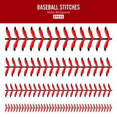 Baseball Stitches Vector. Lace From A Baseball Isolated On White. Sports Ball Red Laces Set.