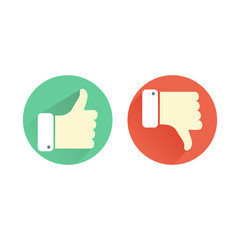 Thumb up and down green and red icons. Like and dislike round buttons in flat design