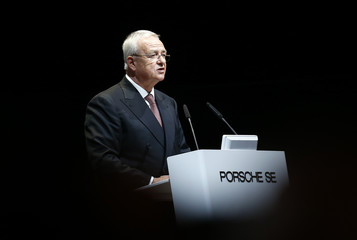 Volkswagen Chief Executive Winterkorn speaks at Porsche during the annual meeting in Stuttgard