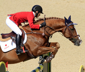 Eiken Sato of Japan riding BV Projects Cartoon Z competes in the World Para Dressage Championship at the World Equestrian Games in Lexington