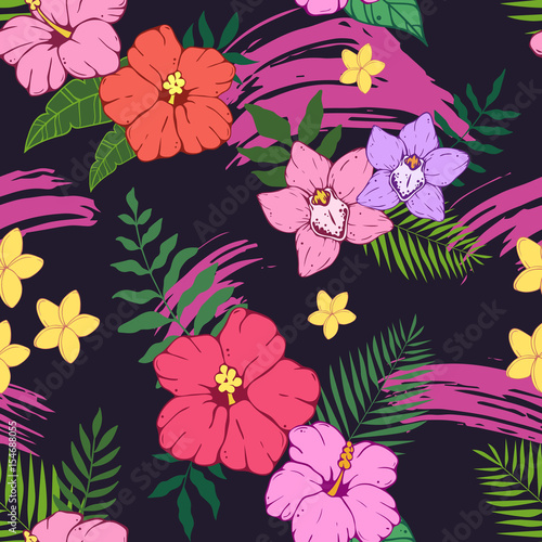 seamless pattern with tropical leaves and flowers palm leaf