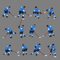 colored hockey player set 3