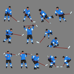 colored hockey player set 4