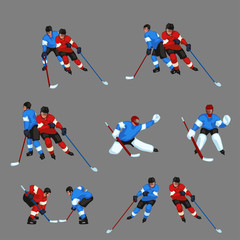 colored hockey player set 5