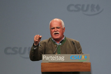 Member of Germany's parliament Gauweiler holds speech during CSU party convention in Nuremberg
