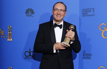 Kevin Spacey poses with his award during the 72nd Golden Globe Awards in Beverly Hills