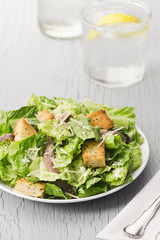 Caesar Salad with Parmesan, Croutons, and Anchovies