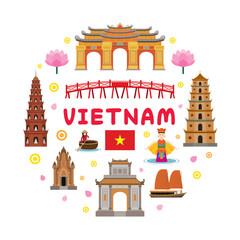 Vietnam Travel Attraction Label