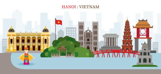 Hanoi, Hoan Kiem Lake, Vietnam Landmarks Skyline
