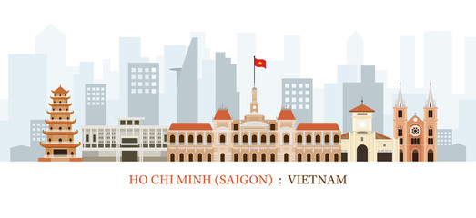 Saigon or Ho Chi Minh City, Vietnam Landmarks Skyline