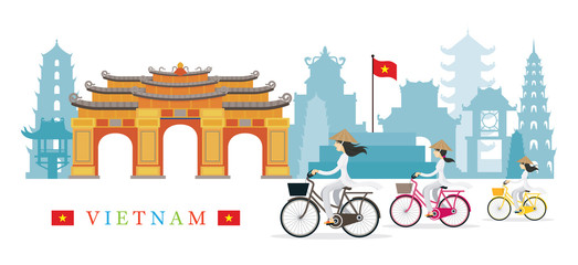 Vietnamese Women with Conical Hat Ride Bicycles, Landmarks Background
