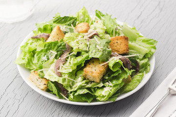 Caesar Salad with Anchovies and Croutons