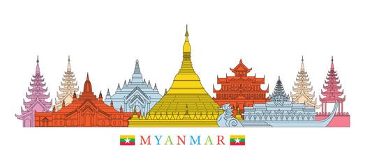 Myanmar Architecture Landmarks Skyline