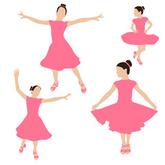 Dancing girl colored silhouettes. Young girl in ballroom dress