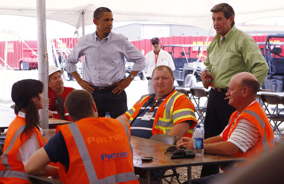 U.S. President Barack Obama tours Theodore Staging Facility to learn about recent developments on the deep water oil spill with Alabama Governor Bob Riley in Theodor
