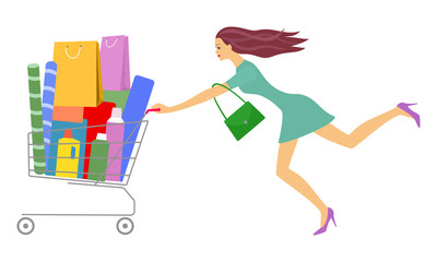 Young beautiful woman rolls full shopping cart. Big sale, big discount. Vector illustration isolated on white background.