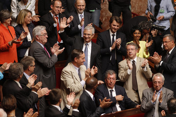 French Socialist party deputy Claude Bartolone reacts after being elected Speaker of the National Assembly during the first session of the National Assembly after June's parliamentary election, in Paris