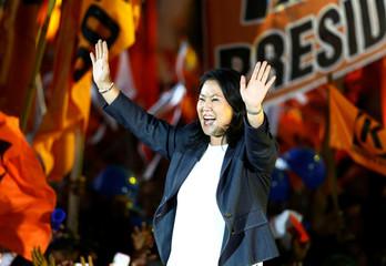 Peruvian presidential candidate Keiko Fujimori attends a closing campaign rally in Lima