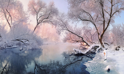 Сhristmas Lace.Winter landscape in pink tones with hoarfrost everywhere.Mostly calm winter river, surrounded by trees covered with hoarfrost and snow that falls on a beautiful pink morning light.