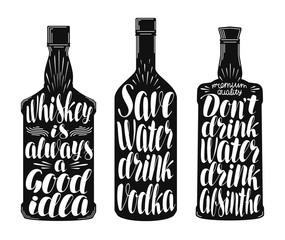 Drinks, alcoholic beverages label set. Whiskey bottle, vodka, absinthe icon or symbol. Handwritten lettering vector illustration