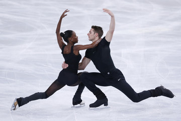 James and Cipre of France practice during a training session before the ISU Bompard Trophy event at Bercy in Paris