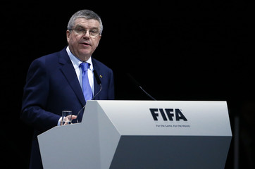 IOC President Bach addresses the Extraordinary FIFA Congress in Zurich