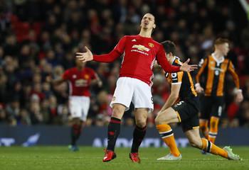 Manchester United's Zlatan Ibrahimovic reacts