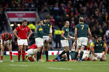 Fourie du Preez of South Africa celebrates after winning their Rugby World Cup Quarter Final match against Wales at Twickenham in London