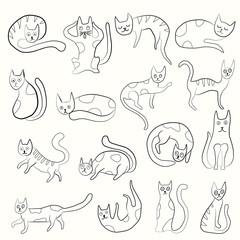 Set of odd funny primitive style cats.