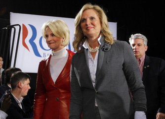 Cindy McCain and Ann Romney arrive for a joint appearance of their husbands in Manchester