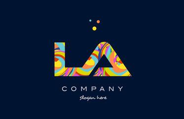 la l a colorful alphabet letter logo icon template vector