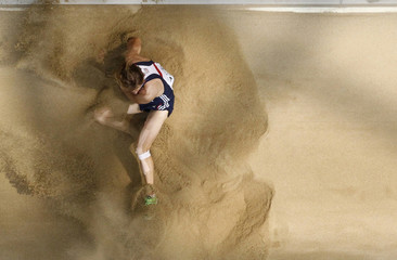 Christopher Tomlinson of Britain competes in the men's long jump qualifying event at the IAAF World Championships in Daegu