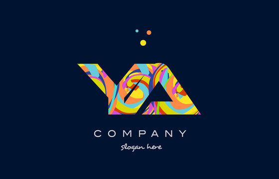 ya y a colorful alphabet letter logo icon template vector