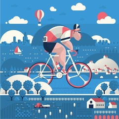 Flat style vector illustration with guy riding hios bike outdoors