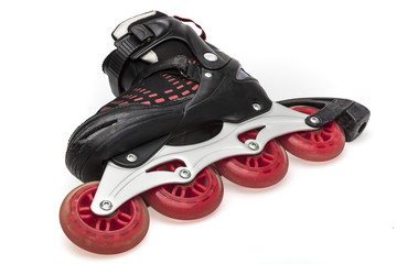 Skate red wheels close-up