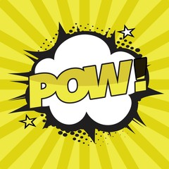comic explosion pow in yellow color