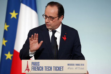 French President Francois Hollande delivers a speech during a meeting with leaders of international start-up based in Paris