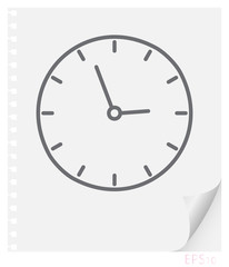 Vector linear illustration of a wall clock on a sheet of paper with a curved corner and holes from springs, a school line icon