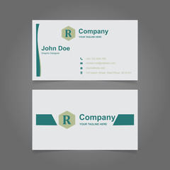 Personal business cards in green and white colors