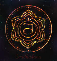 VECTOR Chakra symbol for Meditation. Esoteric illustration Chakra svadhistana in orange color