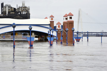 The Mississippi River flooding parts of downtown St. Louis, Missouri