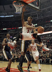 Bulls Rose passes against the Jazz during their game in Chicago