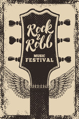 rock and roll festival poster template. Guitar with wings on grunge background. Vector illustration