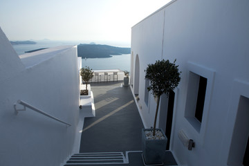 White architecture on Santorini Island with view to the caldera, Greece.