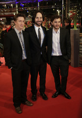 """Director Green, and actors Rudd and Hirsch arrive for the screening of the movie """"Prince Avalanche"""" at the 63rd Berlinale International Film Festival in Berlin"""