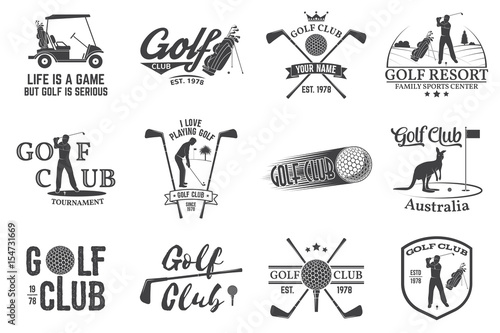 Set Of Golf Club Concept With Golfer Silhouette Stock Image And