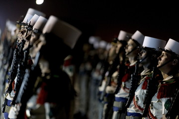 Members of the 13th Demi-Brigade of the Foreign Legion stand during a visit of French Defence minister to the military base of the French Foreign Legion, in the United Arab Emirates