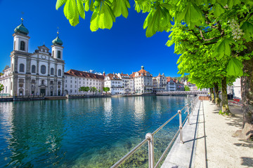Historic city center of Lucerne with Jesuit church and lake Lucerne