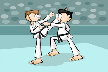 Two karate fighters